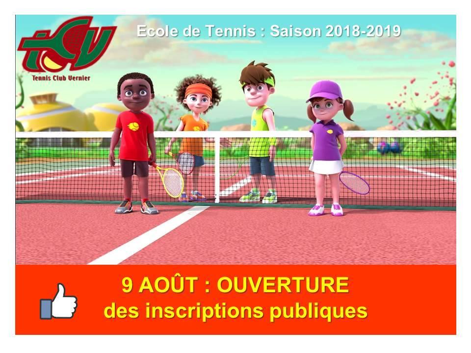 Ecole de tennis : ouverture des inscriptions publiques